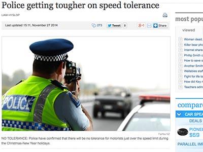 ニュージーランド スピード違反