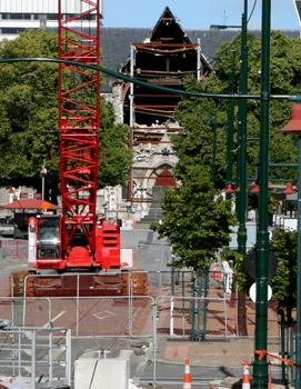 地震後のクライストチャーチ大聖堂
