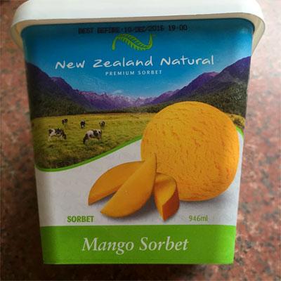 ニュージーランドナチュラルのマンゴーシャーベット