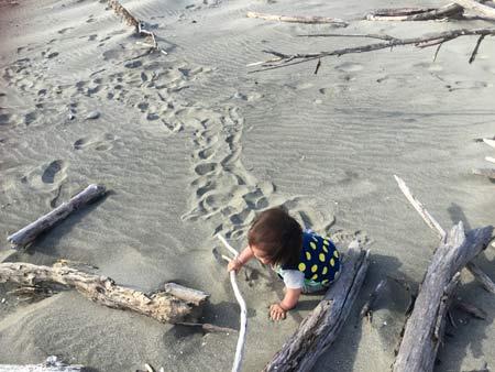 ニュージーランドのビーチで子連れ