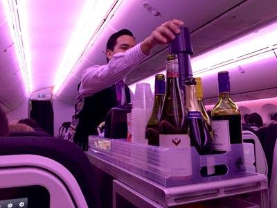 機内でニュージーランドワイン