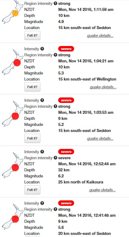 ニュージーランド地震 2016