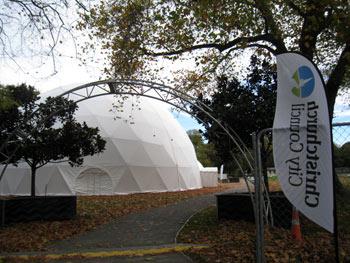 クライストチャーチハグレーパークの仮設ドーム