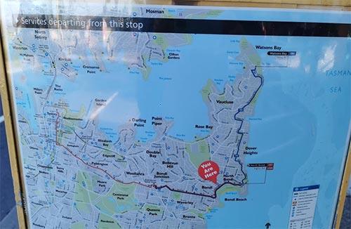 ボンダイビーチにバスで行く