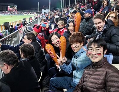 ニュージーランドでラグビー応援