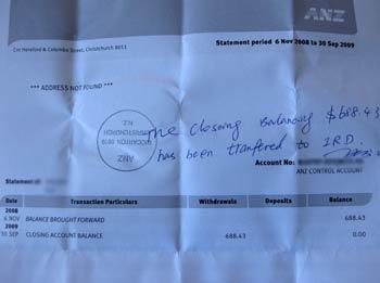 銀行でもらったIRDに送られたという証拠
